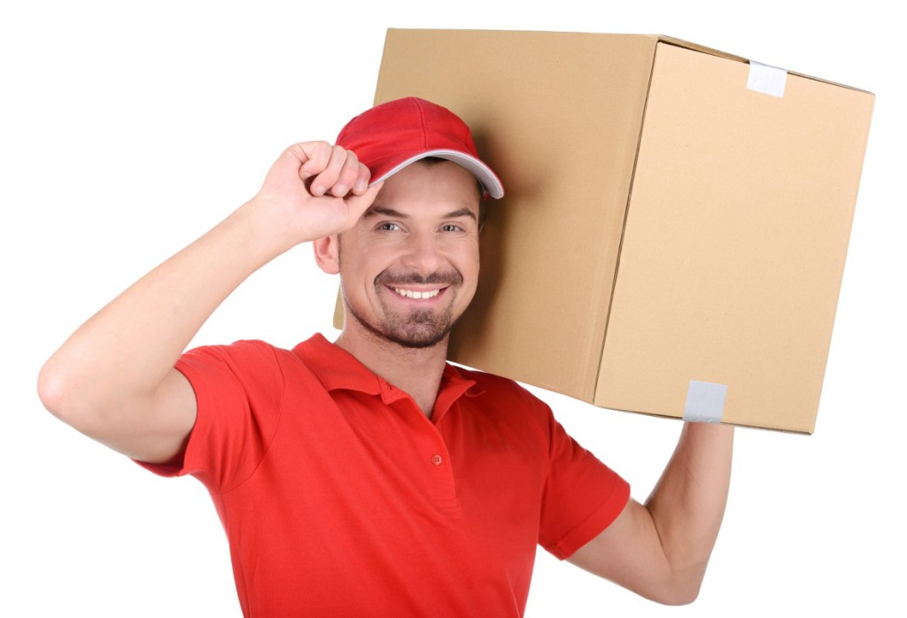 Durham Moving guy with box on shoulder